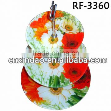 Personalized Flower Designed Round Clear Decorative Grape Plates with Rack
