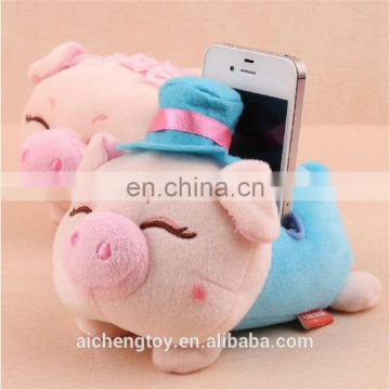 plush pig shaped mobile phone holder for desk