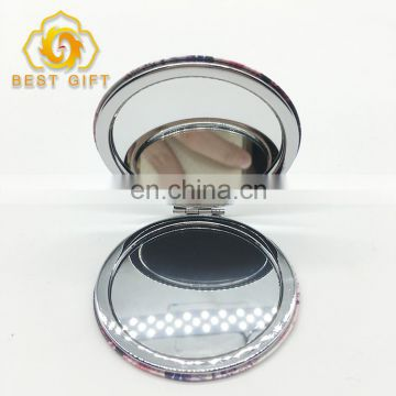 Makeup Round Double Sided Leather Material Custom Metal Mirrors
