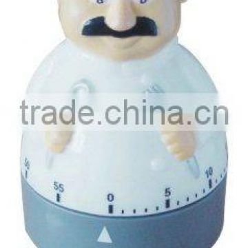 Plastic chef shaped kitchen mechanical timer /cooking sound timer