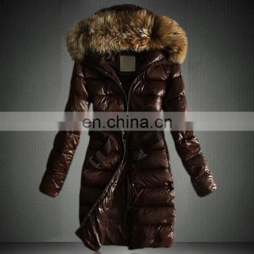 Long style raccoon fur collar down jackets coats for women winter fashion