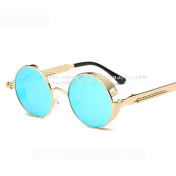 Men women Vintag Round Mirrored Coating Glasses 2018 Steampunk Sunglasses