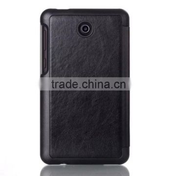 Stylish black flip leather case for asus fonepad 7 FE375, with card slots and standing function