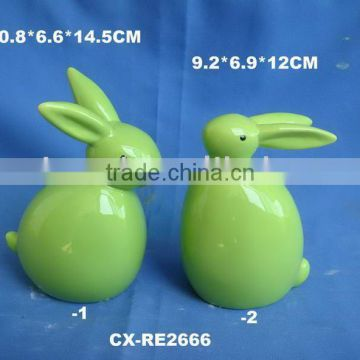 Green porcelain rabbit figurines for Easter decoration