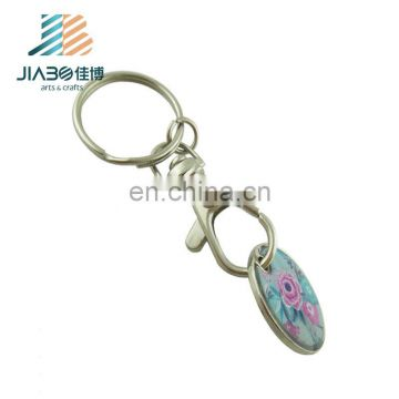 High quality hot sells butiful flower prited Stamping custom metal token coin with keyring