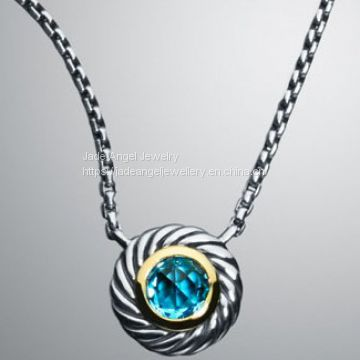 Sterling Silver DY Inspired Large Blue Topaz Color Classics Necklace