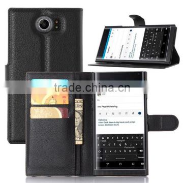 New coming PU leather smart phone wallet case for Blackberry priv credit card case with stand