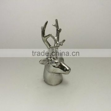 Silver Home Decoration Ceramic Deer Head with long horn