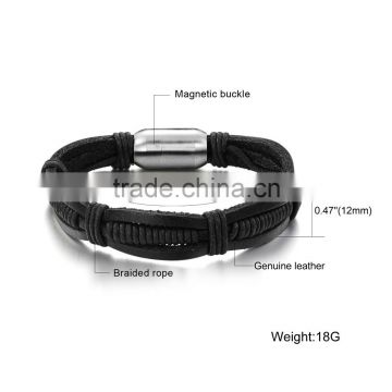 2017 New Stainless Steel Jewelry Leather Braided Bracelet for Men