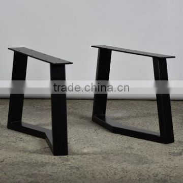 Black Powder Coated Metal Industrial Table Legs For Wooden Dining Table ...
