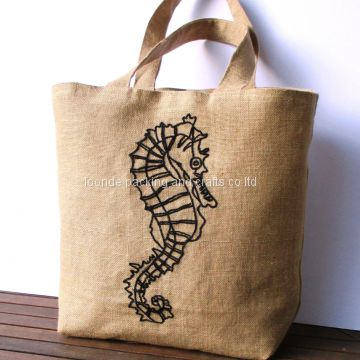 Large summer embroidered jute tote bag, hand embroidered with a seahorse in black, beach bag, shoppers bag, one of a kin