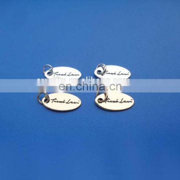 Silver oval shape customized enameled logo metal jewelry tag
