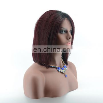 Medium long bob wigs silky straight human hair wigs 1B/99j 2 tone ombre lace front wig/full lace wigs