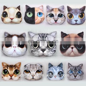 fashion plush toy 3d printing pattern cat head shaped keychain hanging oranment