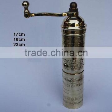 Coffee hand grinder made in brass and polished finish