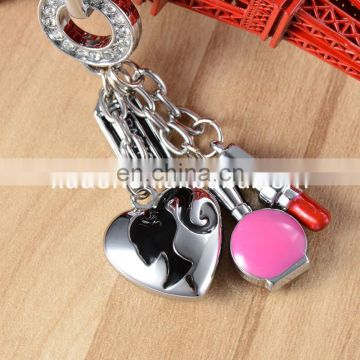 2016 Fashion Custom Metal Red Lipstick Keychain Wholesale Rhinestone Keychain