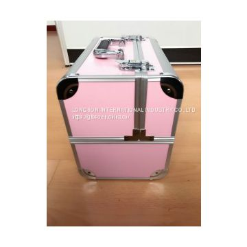 Pink Glossy double-open cosmetic case Make Up Case(Keli – 180314)