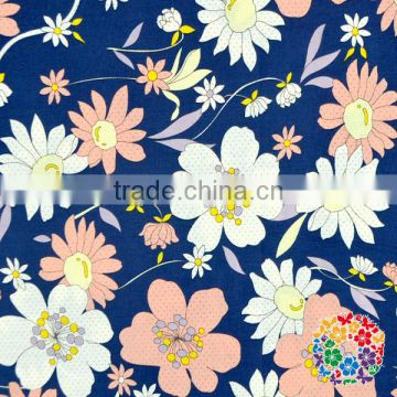 Cotton Yarn Dyed Shirt Grey Fabric Beautiful Floral Printing Sofe Cotton Polyester Cloth Fabrics
