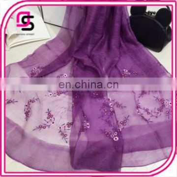 New Spring Section of High-grade Silk Wool Elegant Peach Pattern Breathable Thin Embroidery Shawl Female Scarf