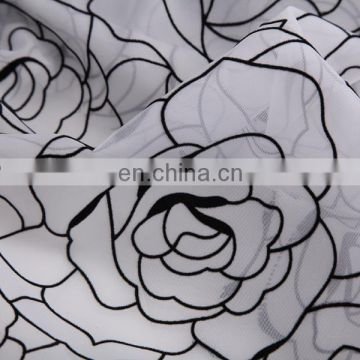 2015 New China Products For Sale White Flocked Curtain Fabric Flocking Organza Fabric