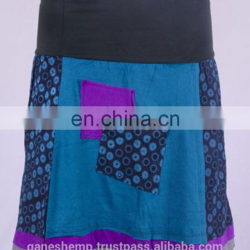 Bohemian Blue Ivy Cotton Patchwork Mini Skirt HHCS 109 E