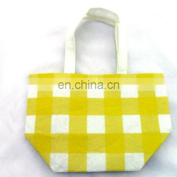 custom wholesale yellow and white printing felt handbag