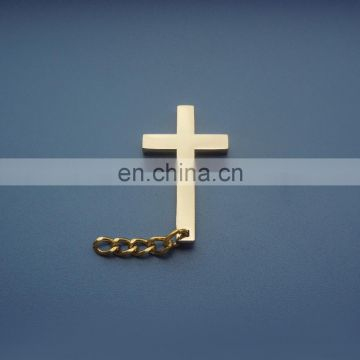 plating glossy gold flat Christian crucifix cross logo metal necklace pendant charm decoration