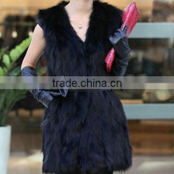 stock black bow waist fashion lady's fur vests for women