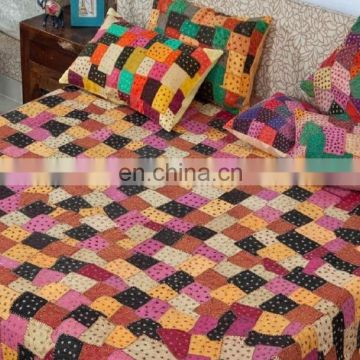Luxury Handmade Patch Work Design bedding set with Pillow cover and bedsheet