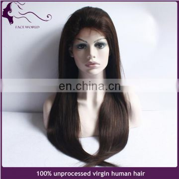 Stock fast shipping #2 dark brown color brazilian human hair full lace wig with baby hair