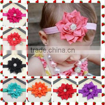 wholesale Baby Girl Red Crystal Liliaceous Flower Sequins Headband