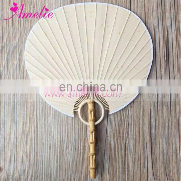 High Quality Rice Paper Chinese Craft Hand Round Court Fan Mandarin Fan