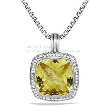 Sterling Silver DY Inspired 20mm Lemon Citrine Albion Enhancer