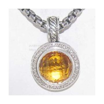 Sterling Silver Jewelry 18mm Citrine Cerise Enhancer(P-073)