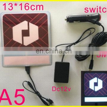 13x13cm EL Backlight panel, uber light panel car sticker with 12V inverter used in car