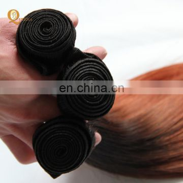 Wholesale two tone ombre color hair extension straight wave remy human hair weft color