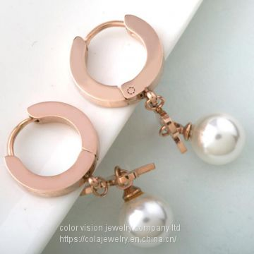 Girls Stylish Jewelry Stainless Steel Rose Gold Pearl Stud Earrings