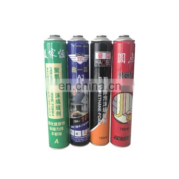 China empty paint cans 750ml and polyurethane foam price