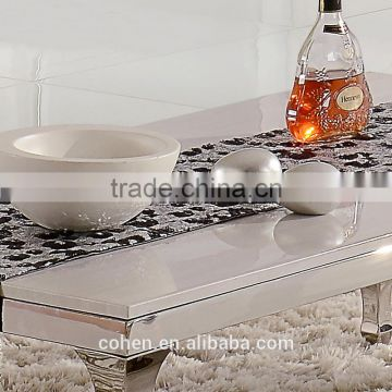 competitive price center coffee table with white marble top stainless steel legs