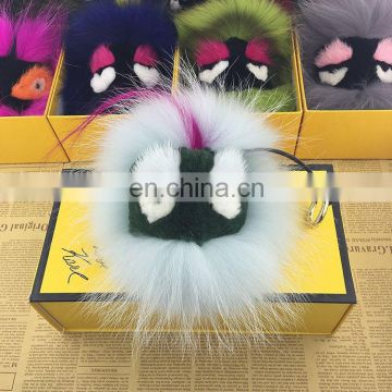 Wholesale Real Raccoon Fur Pompom Keychain Handbag Car Accessory Ball Keyring