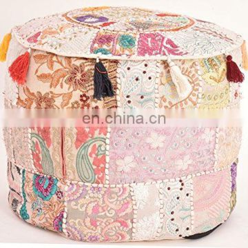 Indian Vintage Old Saree Cotton Handmade Pouf Ottoman Embroidery Pouf