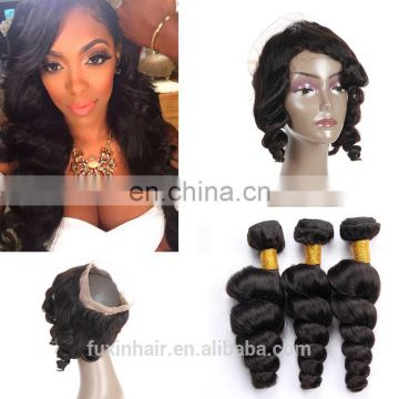 brazilian 360 lace frontal closure with bundles cuticle aligned hair 360 lace frontal wig