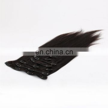 Best quality 7a brazilian virgin silky straight wave clip in hair extension 100% human