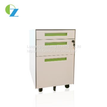Anti-tilt fuction 3 drawers metal mobile pedestal cabinet with 5 pcs caster