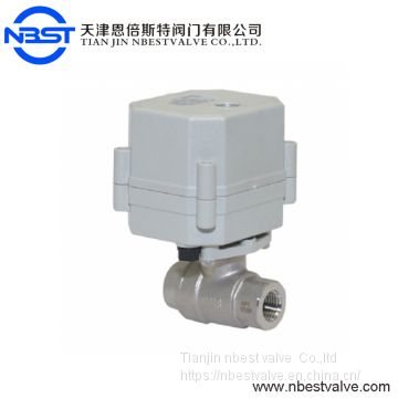DN10 Stainless Steel  3/8inch AC220V 2way Motorized Ball Valve With Indicator No Manual