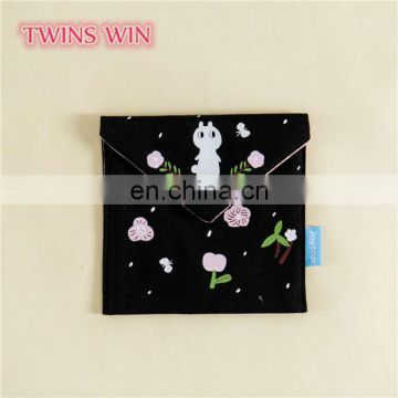 Factory price OEM Custom Print India fashionable Metal Key Chain canvas coin purses coin bag wholesale