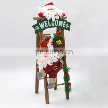 home decor Handmade Christmas Decorations Cloth Art Plush Santa Ladder Scene Window Decoration