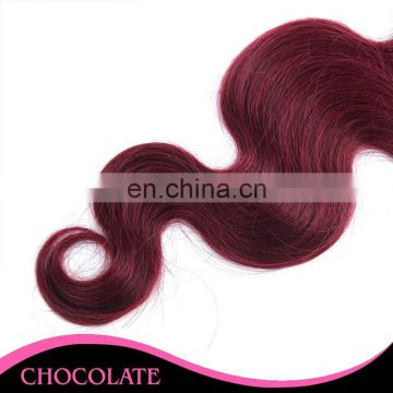 hot sale sew in human hair two tone ombre colored hair weave bundles 1b 99J body wave in stock