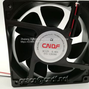 CNDF  made in chinese factory supplier with 2 years warranty CE 7 leafs dc cooling fan 120x120x38mm 24VDC  0.42A  10.08W  3500rpm cooling fan TFS12038H24