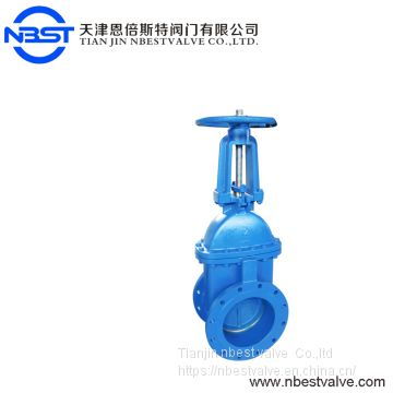 BS DIN Flanged type cast iron soft seat non- rising stem gate valve PN10 PN16